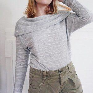 Anthro Dolan Textured Stripe Cowl Neck Sweater